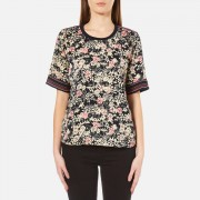 Maison Scotch Women's Silky Feel Top with Placement Prints - Multi - 1/UK 8 - Multi
