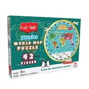 Kidz Valle World Map Puzzle 42 Piece Tiling Puzzles Circular Puzzle (Jigsaw Puzzles, Puzzles for Kids, Floor Puzzles), Puzzles for Kids Age 5 Years and Above. Size: 32.5 cm x 23.5 cm