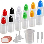 DIY Crafts 15ml Plastic Squeezable Liquid Bottle with Childproof Cap Thin Tip Funnel Measuring Cup Pipette for E-liquids Multicolor(Pack of 24 pcs)