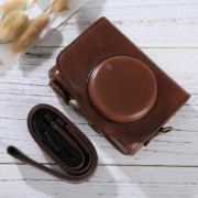 Full Body Camera PU Leather Case Bag with Strap for Canon PowerShot SX730 HS / SX720 HS (Coffee)