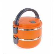 Lunch Box Food Grade Stainless Steel Compact Office Lunch Box Tiffin Heat Resistance Container (Orange 2 Layer)