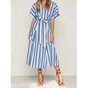 Meco Women Loose Stripe Pocket Shirt Dress with Belt