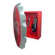 Porta Chaves de Madeira Coca Cola Tampinha Vermelha