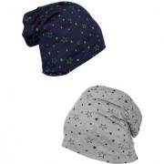Vimal-Jonney Printed Navy Blue And Melange Grey Beanie Cap For Women(Pack Of 2)
