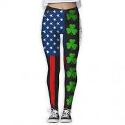 NUNOFOG Shamrocks USA Flag Pantalones de Yoga para Mujer, Blanco, S