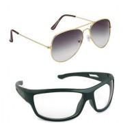 Magjons Fashion Combo Of Gold Grey Aviator And Night Driving Sunglasses