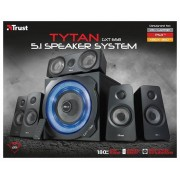 Trust Tytan GXT 658 Sistema Set di Altoparlanti Surround 5.1, con Subwoofer Illuminato, Potenza Totale di 180 Watt, Nero
