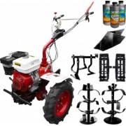 Pachet motocultor Media Line MS 9500 CF model 2019 motor 10CP freza segmentabila 80-120cm roti cauciuc rarita fixa roti metal prasitoare +