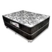 Conjunto Box Cochão Luckspuma Látex Eclypse 80 + Cama Nobuck Nero Black - Conjunto Box Queen Size - 158 x 198