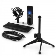 MIC-900B -LED USB Set Microfono V1   Condensatore-Microfono nero   Stativo