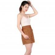 EH Mujeres De Encaje De Cuero De Gamuza Lápiz Falda Cruz Alta Cintura Bodycon Faldas Cortas XL - Marrón