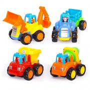 Geefia Set of 4 Cartoon Engineering Vehicles Friction Powered Push and Go Vehicle for Toddlers (Bulldozer