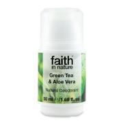 Deodorant roll on natural, Faith in Nature, cu ceai verde si aloe vera, 50 ml