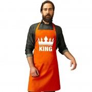 Bellatio Decorations Oranje King bbq schort/ keukenschort met kroon heren