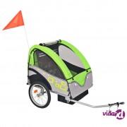 vidaXL Dječja Prikolica za Bicikl Sivo Zelena 30 kg