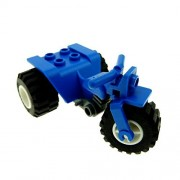LEGO City - 1 Blue Tricycle Complete Assembly with Dark Bluish Gray Chassis & White Wheels