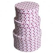 Geen Ronde kado verpakking paarse hartjes 16 cm