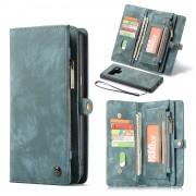 CASEME Vintage Multi-slot Split Leather Protection Shell for Samsung Galaxy Note 9 - Blue