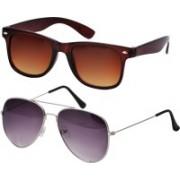 Freny Exim Aviator, Wayfarer Sunglasses(Brown, Violet)