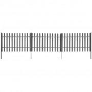vidaXL Gard șipci, 3 buc, WPC, 6 m lungime, 100 cm înălțime, gri