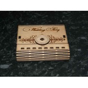 Engraved wooden wedding story USB memory stick box.