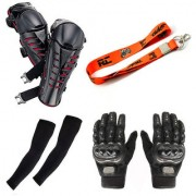 Spidy Moto KTM Strap Key Chain 2 Arm Sleeves 1 Pair Pro-Biker Hand Gloves 1 Pair Knee Guard Combo for Biker/Rider