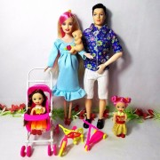 Toys Family 5 People Dolls Suits 1 Mom /1 Dad /2 Little Kelly Girl /1 Baby Son/1 Baby Carriage Real Pregnant Doll Gifts,YF-88