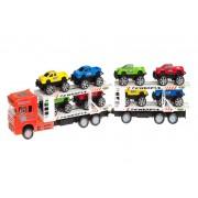 Transportlastbil med Monster Trucks 1:32 Röd Leksaksset