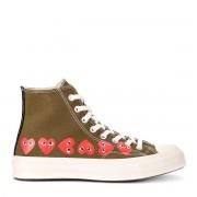 Comme des Garçons Play Sneaker Comme des Garçons Play x Converse alte color kaki con cuori