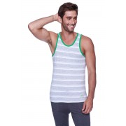 4-rth Light Weight Transition Striped Yoga Tank Top T Shirt Grey/White/Green