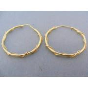 Zlaté náušnice kruhy žlté zlato točený vzor DA373Z