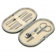 Merkloos 6-delige manicure set in luxe beige houder