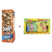 """Jenga GIANT Family Hardwood Game w/""""Gumby & Friends"""" Boxed Bendable Set - BUNDLE (Ages 6+. Stacks to 3+ feet)"""