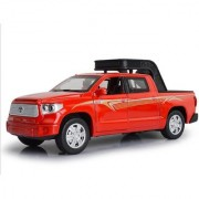 Emob 132 Die Cast Metal Body Red Toyota Pickup Truck Car Toy with Light and Sound Effects (Multicolor)