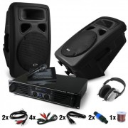 "Set DJ PA ""Bass Blast Force"" PA - Colunas e Amplificador 1000W"