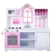 Wood Toy Kitchen Pretend Play Set Kids Toddler Wooden Cooking Playset + eBook