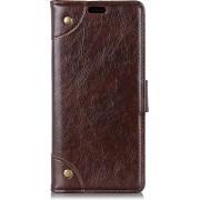 Mobigear Nappa Copper Buckle Wallet Hoesje Koffie Motorola Moto G7 / G7 Plus