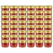 Sonata Стъклени буркани за сладко със златисти капачки, 48 бр, 110 мл