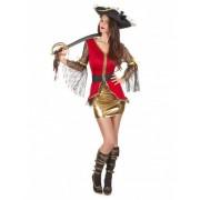 Disfarce de pirata vermelho e dourado mulher