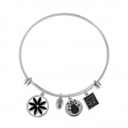 CO88 Armband Bangle 'Bloem/Sneeuwpop/Winter' staal, one-size 8CB-16006