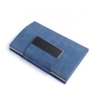Golden Feather High Quality Card Holders   Stylish Full Black Leatherite and Leatherite piece Silver Metal Business Credit/debit/ATM/ID/Visiting card holder SUPER SLEEK, STURDY : Model CH18 : 15 Card Holder(Set of 1, Blue)