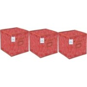Billion Designer Laheriya Design Non Woven 3 Pieces Small Foldable Storage Organiser Cubes/Boxes (Orange) - BILLION36076 BILLION036076(Multicolor)