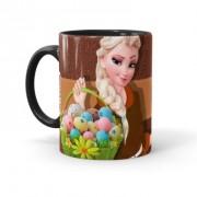 Caneca Chocolate Feliz Páscoa Frozen Elsa 01 Preta