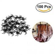 BESTOYARD Plastic Spiders Fake Spider Realistic Spider Jokes Props for Prank Halloween Party Decoration 100 pcs (Black)