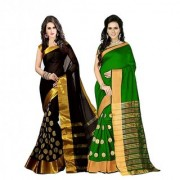 Stylezone Multicoloured Poly Cotton Silk saree Combos (Combo Of 2) combo238
