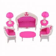 ER 7pcs Juguetes Barbie Doll Sofá Sofá Silla Lámpara De Escritorio De Muebles Desmontado Rosa Y Blanco