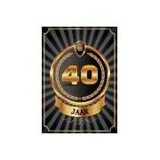 Merkloos Decoratie poster 40 jaar zwart en goud