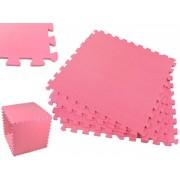 Covoras Tip Puzzle pentru Copii, 4 Piese din Spuma Moale, Culoare Roz, Dimensiuni 122x122cm