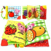 Coolplay Non-Toxic Cloth Soft Book-Teether Rings-Infant Baby Toddler Activity Gift - Learning with Fruits - Squeak, Rattle, Crinkle