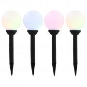 vidaXL Градински соларни лампи, 4 бр, LED, сферични, 15 см, RGB